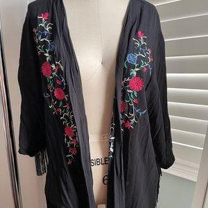 Xhilaration Black Floral Embroidered Fringe Kimono